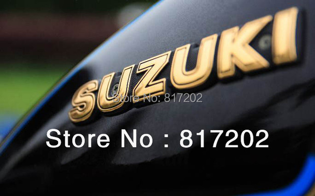 """NEW FREE SHIPPING SUZUKI LETTER Fuel Tank Emblem """"GOLD"""" fit for GN250 GN400, GS450 ts250 PAIR L/R"""