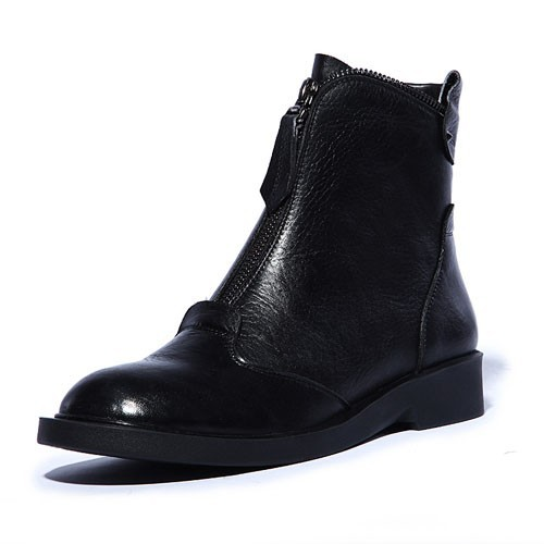 ENMAYER  New Genuine Leather Boots Cowhide Women's Ankle Boots