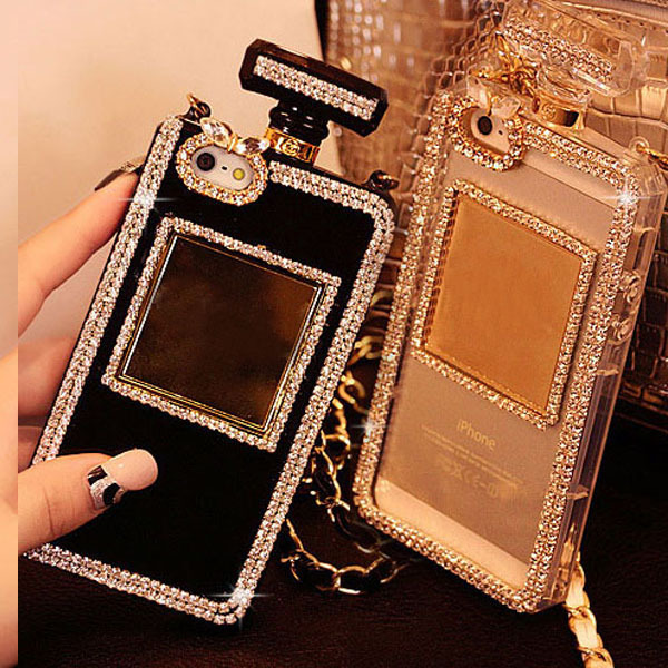 Luxury Diamond Bling Perfume Bottle Lanyard Chain Case For iphone 6 Plus 5 5s for Samsung Galaxy S4 S5 S6 Note 3 4 TPU Cover(China (Mainland))