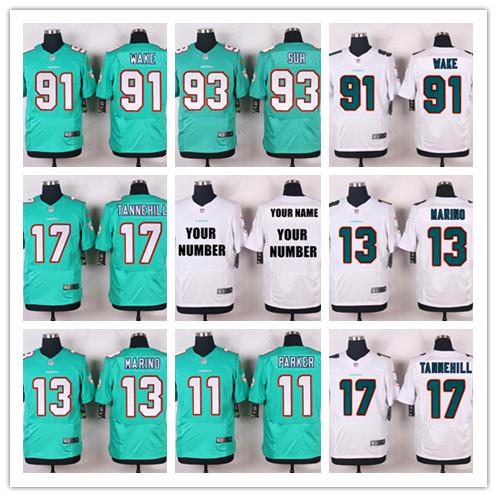 100% Stitiched,Miami Dolphins,Mike Wallace 13 Dan Marino 17 Ryan Tannehill 93 Ndamukong Suh elite,Cameron Wake(China (Mainland))