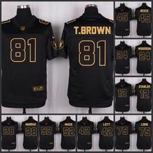 The 50 anniversary black gold men Elite Oakland Raiders 28 Latavius Murray 52 Khalil Mack 42 Ronnie Lott 75 Howie Long(China (Mainland))