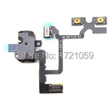 New Audio Jack Flex Cable For iPhone 4 4G headphone Earphone Volume Button Mute Silent Switch free shipping 5pcs/lot