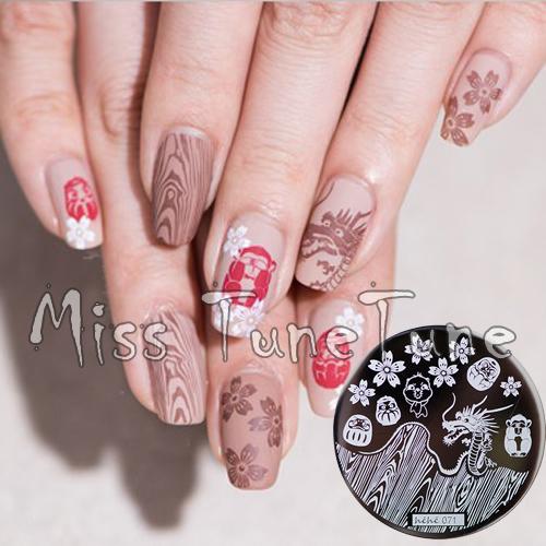 New Stamping Plate hehe71 Japan Tumbler Sakura Gragon Nail Art Stamp Template Image Transfer Stamp