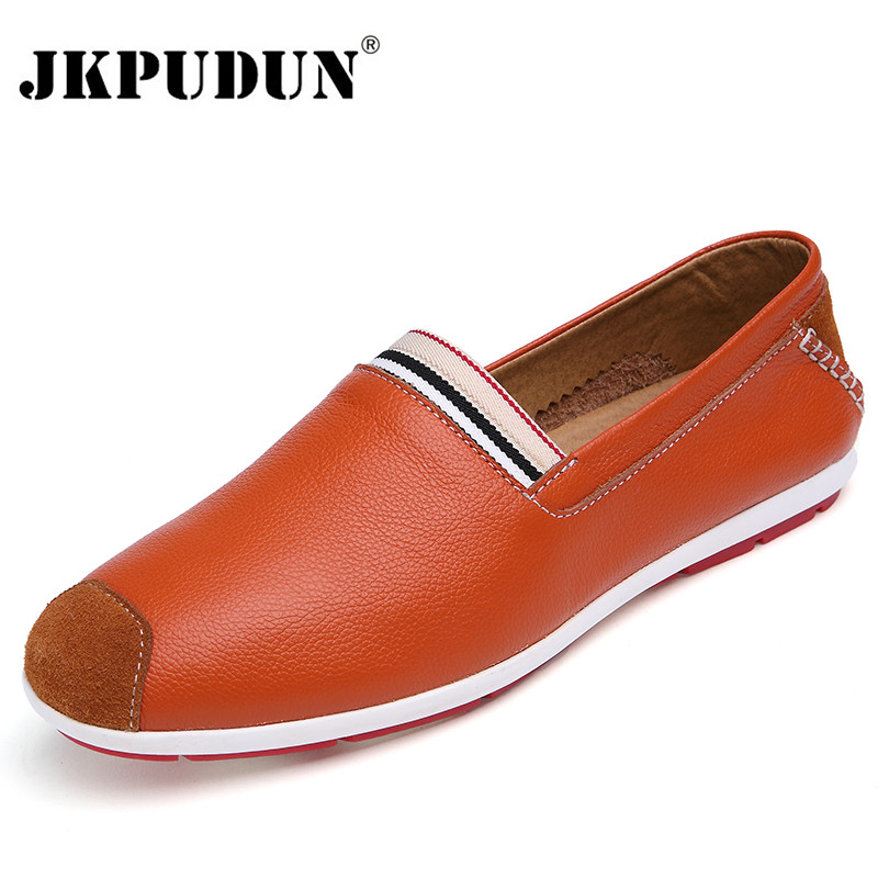 JKPUDUN Designer Italian Shoes Men Casual Mens Loafers Genuine Leather Moccasins Luxury Brand Breathable Flat Driving Shoes(China (Mainland))