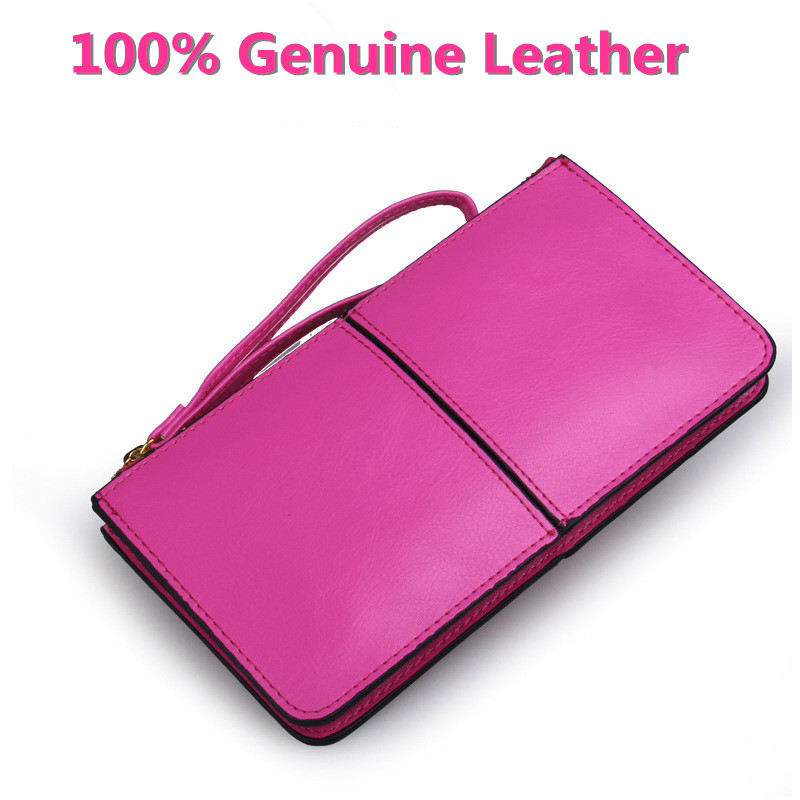 2015 Oil Wax Cowhide Women Wallet Brands Designer 100% Genuine Leather Women Korean Zipper Purse Large Capacity For Women(China (Mainland))