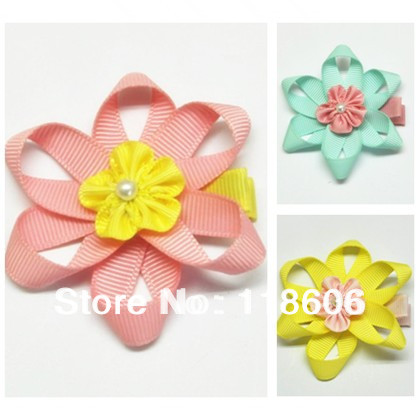 Retail Fancy Daisy Ribbon Flower Hair Bows for Toddler Girls Free Shipping(China (Mainland))