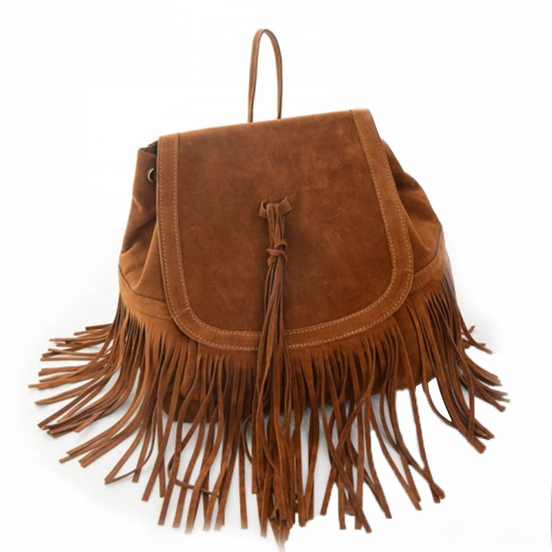 Vintage  Famous Brand Faux Suede Bucket Bag Tassel Women Handbags  Women Shoulder Bag Bolsa Feminina