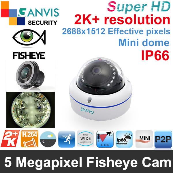 Fisheye lens Super HD 5mp IP camera mini dome 360 degree Panoramic camera 3MP 1080P FHD cctv video surveillance GANVIS GV-T554F(Hong Kong)