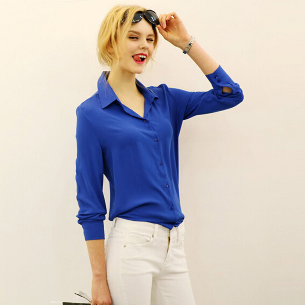 Loose Solid Color Long Sleeve Chiffon Women Blouse White Black Blue Women Chiffon Blouse  V-neck Spring Shirt Tops,Hot SellingОдежда и ак�е��уары<br><br><br>Aliexpress
