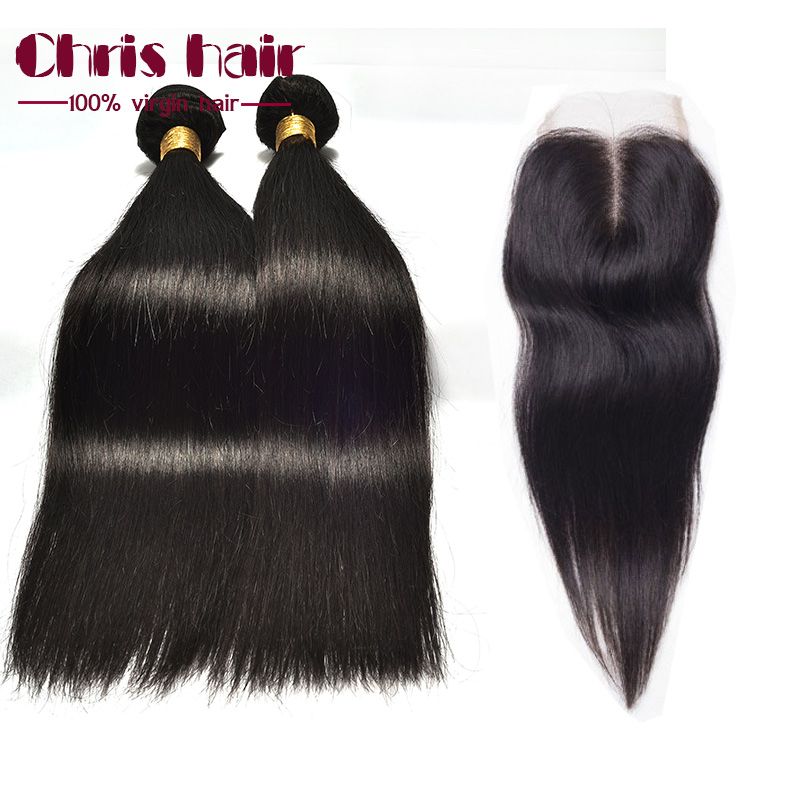 Cheapest Peruvian Virgin Hair With Closure 3 Bundles 7A Queen Hair Products Straight Human Hair Weave Weft With Lace Closures<br><br>Aliexpress
