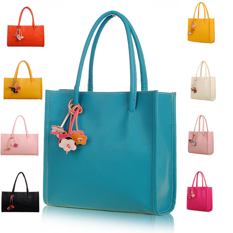 New candy color shoulder Bags Women Handbags Brand Fashion PU leather flower Bag for Women big shopping bags(China (Mainland))