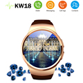 2016 luxury smart watch phone KW18 MTK2502C 1 3 inch round screen IPS LCD 240X240 Bluetooth
