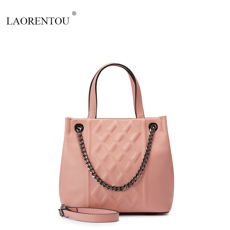Фотография LAORENTOU Luxury women genuine leather tote Famous Brand Designer women Messenger bags summer samll Casual handbag Shoulder bag