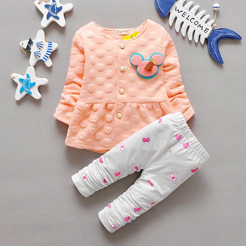 2015 Fashion Brand Baby Girl Clothing Sets Spring Toddler Girls Clothing Sets Kids Girls Clothes Dot Cat Dress Legging Set Suit