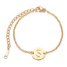 Fantastyczny 100% prawdziwe ze stali nierdzewnej złoty wypełniony A-Z nazwa początkowa list Charm bransoletka dla kobiet kobieta(China)