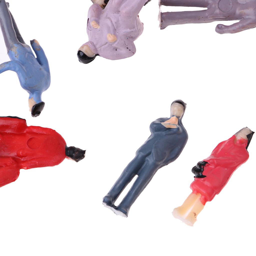 100x Train Scene Layout Passenger People Figures Painted Model 1:87 HO Scale