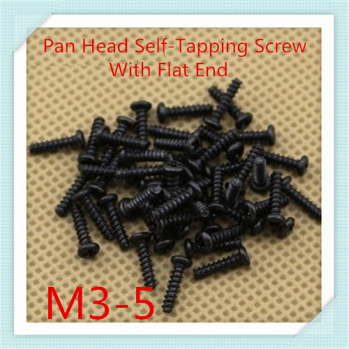1000PCS/LOT M3*5 Steel With Black Pan Head  Flat Tail  Cross Recessed Self-tapping  Screw With  Flat  End<br><br>Aliexpress