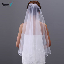 Dressv white/ivory wedding veil tulle beaded elbow bridal veil two-layer bead edge wedding accessories bridal veil for wedding(China (Mainland))