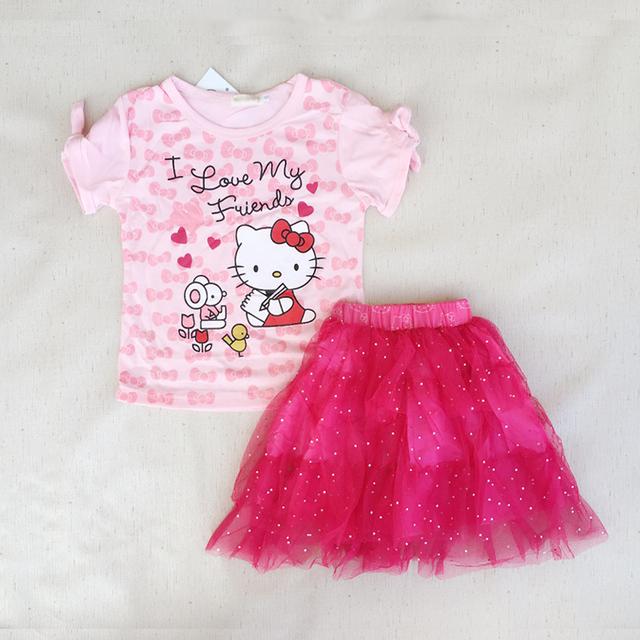 Летний новый детская одежда девушки cute Hello Kitty девушки туту платье костюм дети ...
