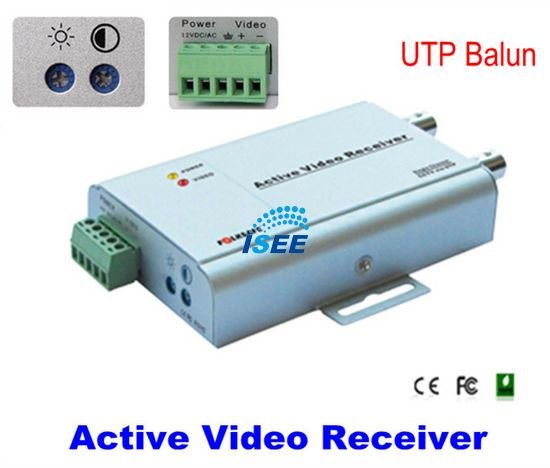 CCTV 1-CH Active Video Receiver UTP Balun With Dual BNC Video Output And Brightness Adjust FREE SHIPPING CHINA POST(China (Mainland))
