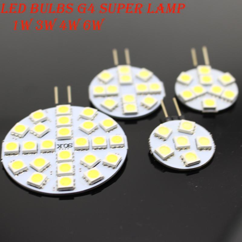 10 PCS DC 12V G4 LED Lamp Bulb 1W 3W 4W 5W 6W 5050 SMD Light Corn Bulbs Droplight Chandelier 5050SMD Spot light Cool/Warm White(China (Mainland))