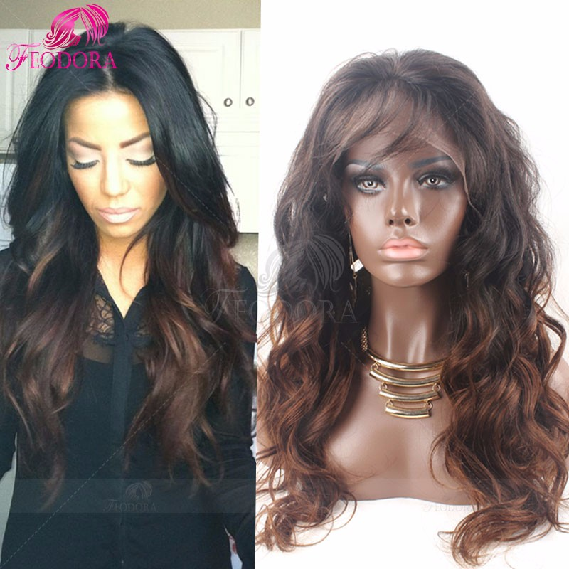 Ombre Glueless Full Lace Human Hair Wigs Wavy Lace Front Wig For Black Women 7A Virgin Brazilian Human Hair Two Tone Lace Wigs
