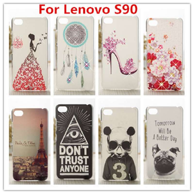 2016 New and Hot Case For Lenovo S90 Luxury Crystal Diamond 3D Bling Hard Plastic Case Cover For Lenovo S90 Cell Phone Case(China (Mainland))