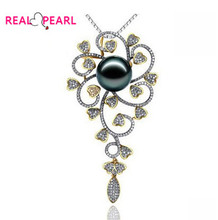REAL PEARL 10-11mm Super Big Size Tahitian Pearl Pendant with 18k White Gold Nice Quality Women's Pearl Jewelry(China (Mainland))
