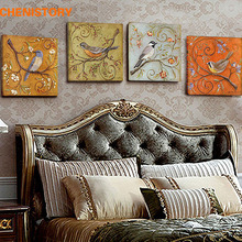 Unframed 4 Panel Vintage Birds Retoing Europe Home Decor Wall Art Picture Print Painting On Canvas For Living Room Unique Gift(China (Mainland))
