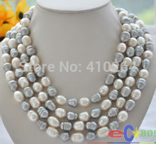 """Buy free shipping $wholesale_jewelry_wig$ free shipping 78"""" 13~14mm white gray rice freshwater cultured pearl necklace for $55.66 in AliExpress store"""