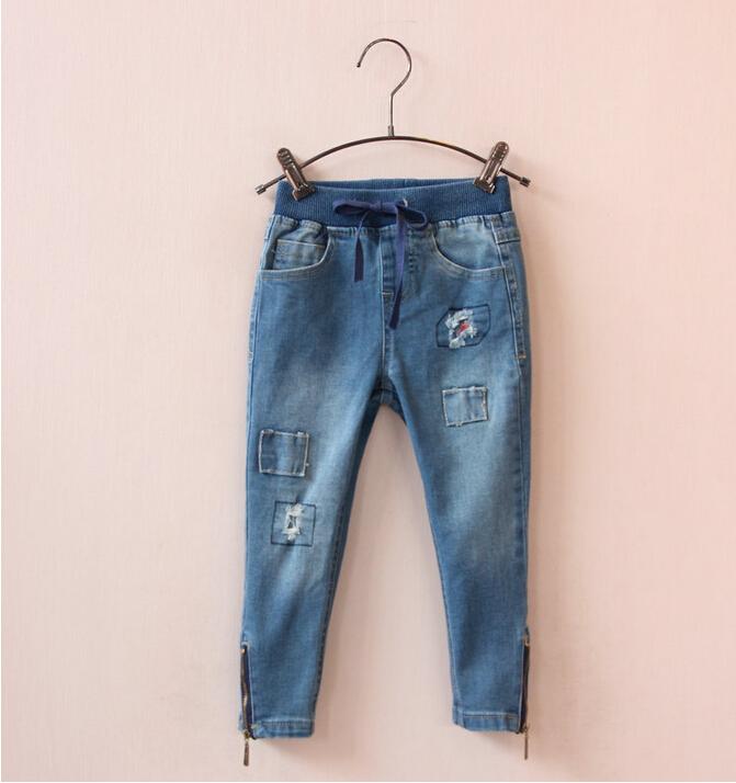 30637046 Wholesale 2015 New Autumn Girls Jeans Solid Elastic Waist Patchwork Zipper Girls Pants Denim Fashion Children Clothes<br><br>Aliexpress
