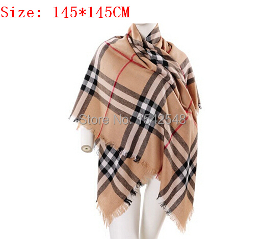 Discount British Brand Classic Camel Check Square Infinity Scarves Shawl Warm Elegant Present for Women Free SHipping(China (Mainland))