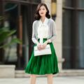 Women s slim fitting pure cashmere three quarter sleeve thin short cardigan sweater