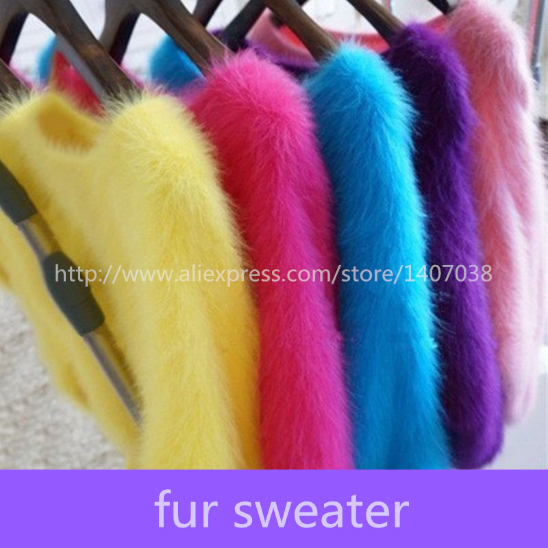 100% mink sweater Women Sweaters and pullovers Pure fur sweater Knitted Pullover ladies sweater(China (Mainland))