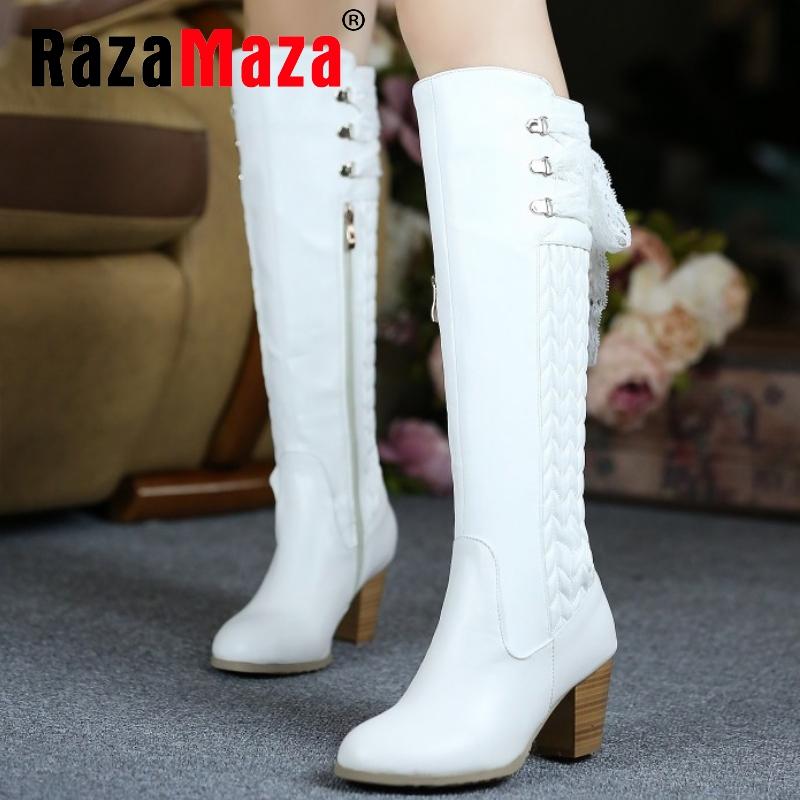 Фотография size 30-45 women real genuine leather high heel over knee boots long boot winter warm botas militares footwear heels shoes R2262
