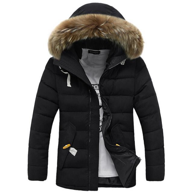 Новое 2015 зимняя куртка мужчины пальто толстые теплые свободного покроя меховой ...