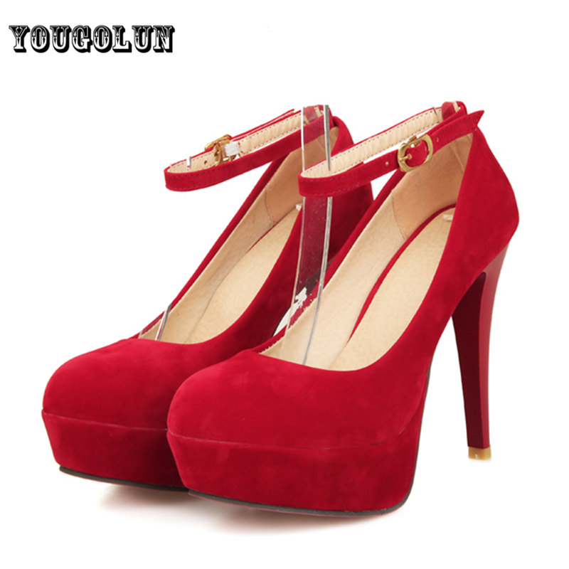 Sexy 6 colors ankle strap Women thick cone high heels red bottom Pumps,spring/autumn woman shoes tenis sapatos femininos tacones