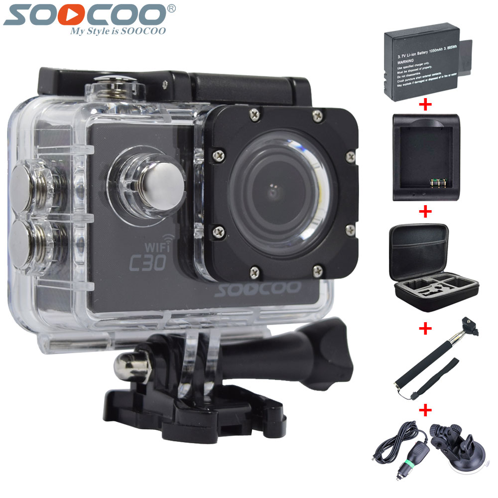Original SOOCOO C30 4K Wifi Gyro Diving HD Sport Action Camera+1pcs 1050mAh Extra Battery+Charger+Bag+Selfie Stick+Car Charger(China (Mainland))