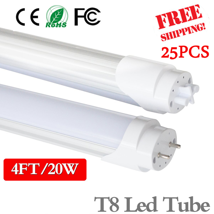 25PCS 4ft LED Tube light T8 1200mm 20W AC85V-285V G13 Super Bright LED Fluorescent light 3000K 4000K 6500K SMD2835 LED light(China (Mainland))
