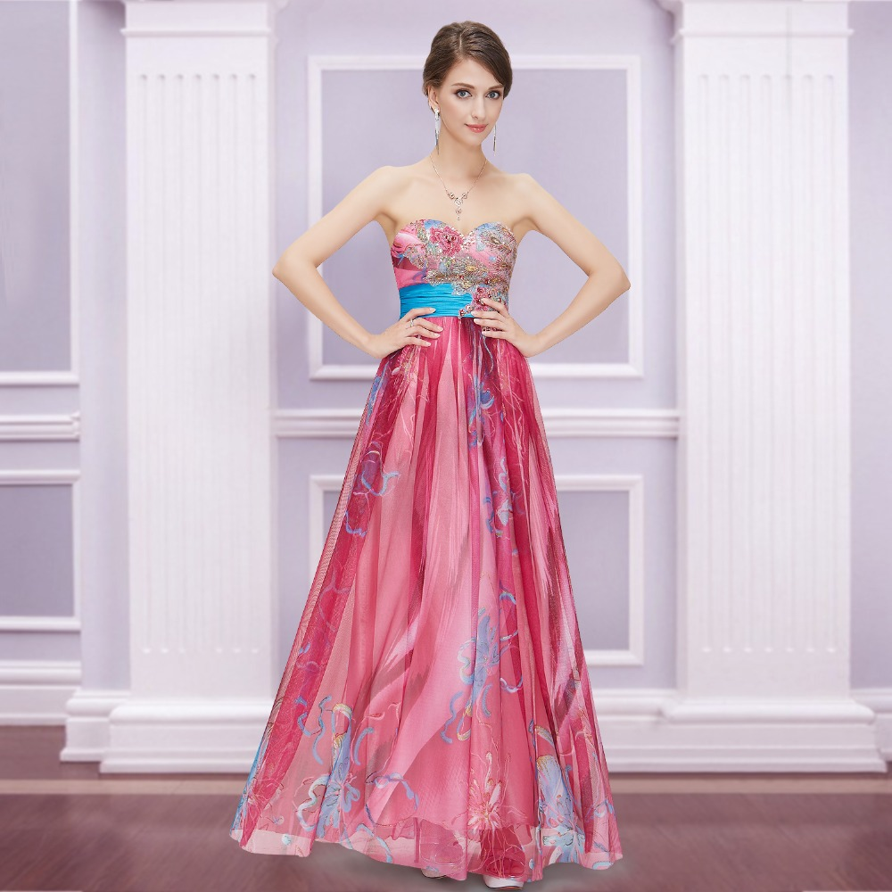 Prom Dresses 2015 New Fashion Floral Printed Embroidery Strapless Empire Line Long Evening HE09820HP(China (Mainland))