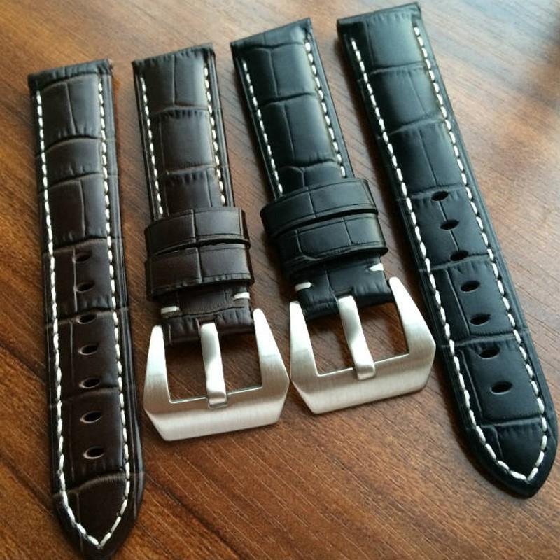 Ручной работы 22 24 26 мм черный браун натуральная кожа часы ремень + нержавеющая пряжки для PAM часы браслет с логотипом
