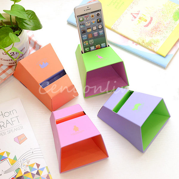 New Arrival 4 PCS DIY Craft Cute Smart Animal Paper Horn Speaker Holder Mount for iPhone 4 4S 5 5S 5C 4 Colors Randomly(China (Mainland))