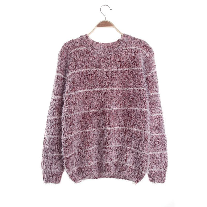 Womens Knitted Sweaters Autumn Winter Mujer Stripes Pullovers Long Sleeve Knit Sweater Ladies Knitwear Tops Wine Red 16903re