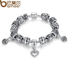 Antique Silver Charm Bracelet & Bangle Silver 925 With Heart Pendant for Women Wedding Vintage Jewelry PA1431(China (Mainland))