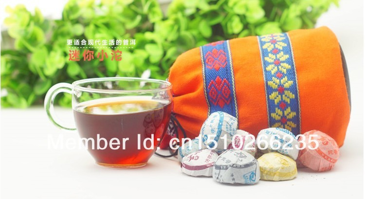 Promotion! 50pcs different flavors Chinese yunnan puerh tea China the tea ripe puer tea pu er shu lose weight products gift bag