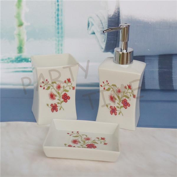 Ceramic bathroom set, lotion bottle, tumbler, soap dish, three pieces set(China (Mainland))