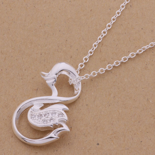 Wholesale high quality Silver plated Swan statement pendant Necklace,latest design fancy silver wedding necklace for women AN071(China (Mainland))