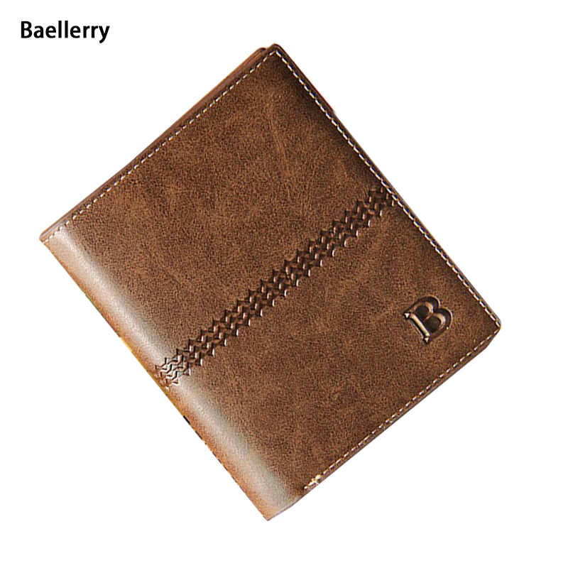 Top PU Leather Bifold Men Wallets 2 Design No Zipper B Logo Carteira Masculina Men Purse Short Card Holder Wallet(China (Mainland))