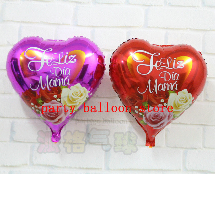 50pcs/lot Spanish happy mother's day foil balloons rose design heart shape helium ballons for mother's day birthday(China (Mainland))