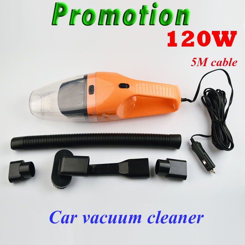 Promotion!!! 5M 120W 12V Car Vacuum Cleaner Super Suction Wet And Dry Dual Use Vaccum Cleaner For Car(China (Mainland))